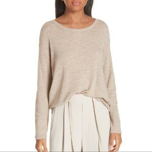 VINCE 100% Wool Heather Camel Lightweight Top